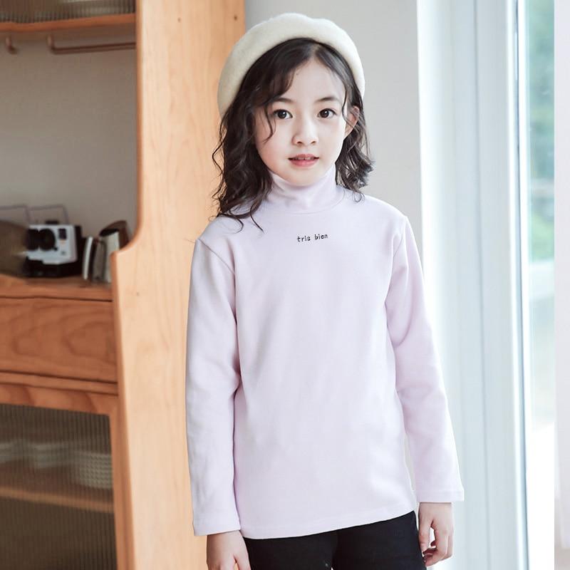 Camiseta para niñas NANJIREN de Otoño de algodón de doble cara caliente chico top de invierno de manga larga de cuello alto camiseta para niños