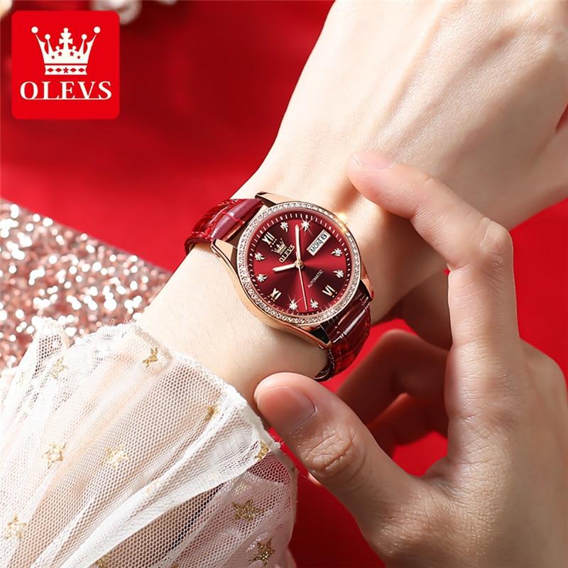 OLEVS Fashion Diamond Luxury Lady Mechanical Watch Leather Automatic Waterproof Wristwatch Gifts Calendar Watches For Women 6637 enlarge