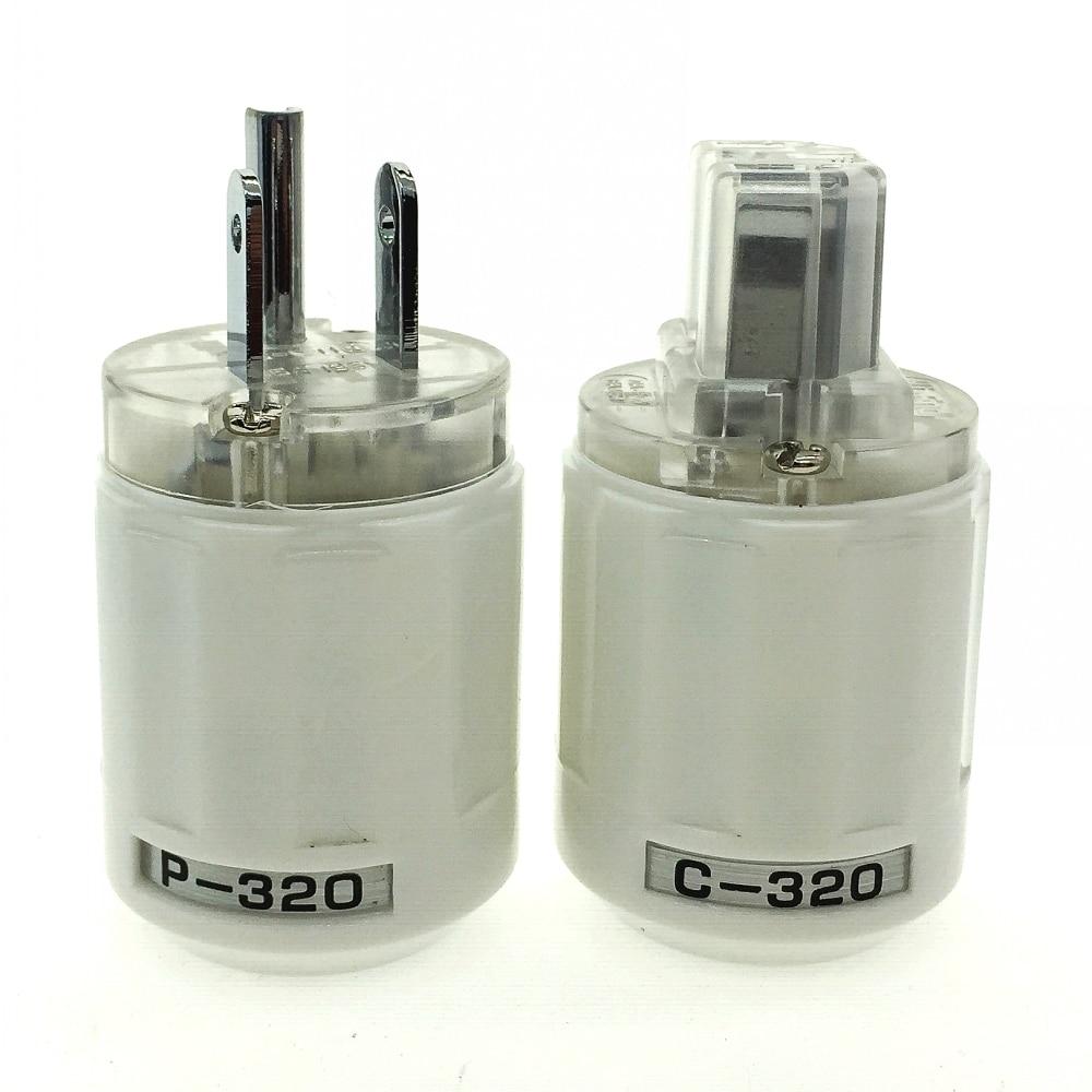 Conector HIFI fidelity oyaide p-320 / c-320 chapado en rodio de cobre americano AC, a través del conector IEC, Blanco transparente DIY