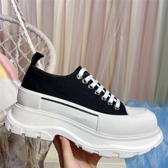 Luxury designer women's shoes canvas Alexander shoes high-top lace-up heighten platform flat shoes casual comfortableshoes men