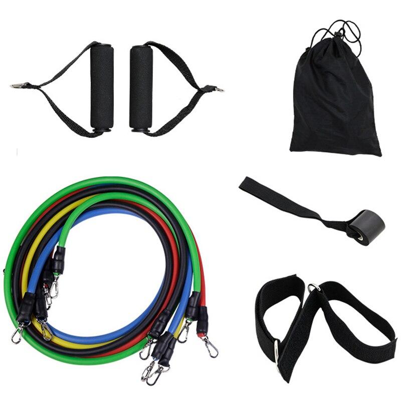 11 unids/set de cuerda para ejercicios de Fitness, banda de resistencia para Yoga, tubos de goma, Pedal Excerciser, estiramiento corporal, entrenamiento en el hogar, gimnasio, entrenamiento