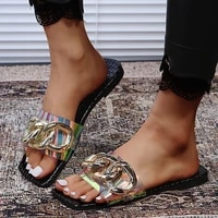 2021 slippers women slip on slides fashion brand square toe leather flat sandals female outdoor casual slippers flip flops