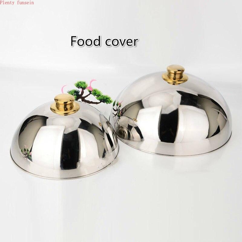 الفاخرة 304 الفولاذ المقاوم للصدأ لوحة غطاء عالية الجودة غطاء الغذاء تيبانياكي الغربية قبة مع الذهبي أعلى اثنين حجم كبيرة أو صغيرة