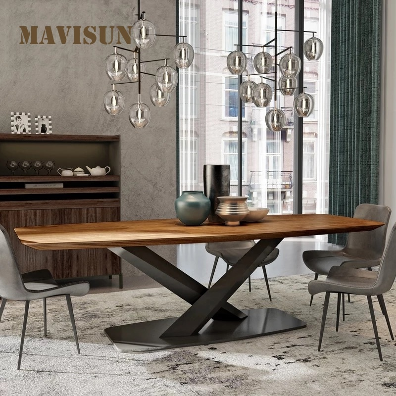 الجوز مستطيلة الإبداعية مصمم الأثاث الحديثة المنزل مطعم الطاولات الطويلة الراقية مكتب مكتب مذاكرة 2 متر لعشرة أشخاص