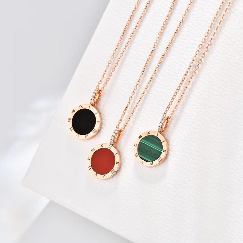 Collar con números romanos clásicos para mujer, joyería fina Blakc verde rojo redondo 18K, collares de oro rosa