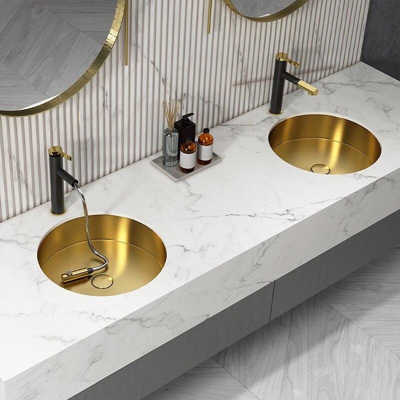 38*38*12 سنتيمتر جولة الذهبي ضوء الفاخرة 304 الفولاذ المقاوم للصدأ undercounter حوض واحد حوض مغسلة المنزلية جزءا لا يتجزأ من بالوعة