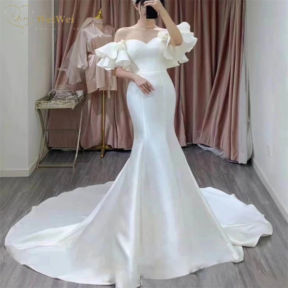 Review Simple Satin Mermaid Wedding Dress Sweetheart Neck Off The Shoulder Short Flare Sleeve Lace-Up Ruffles Cвадебное платье 2021