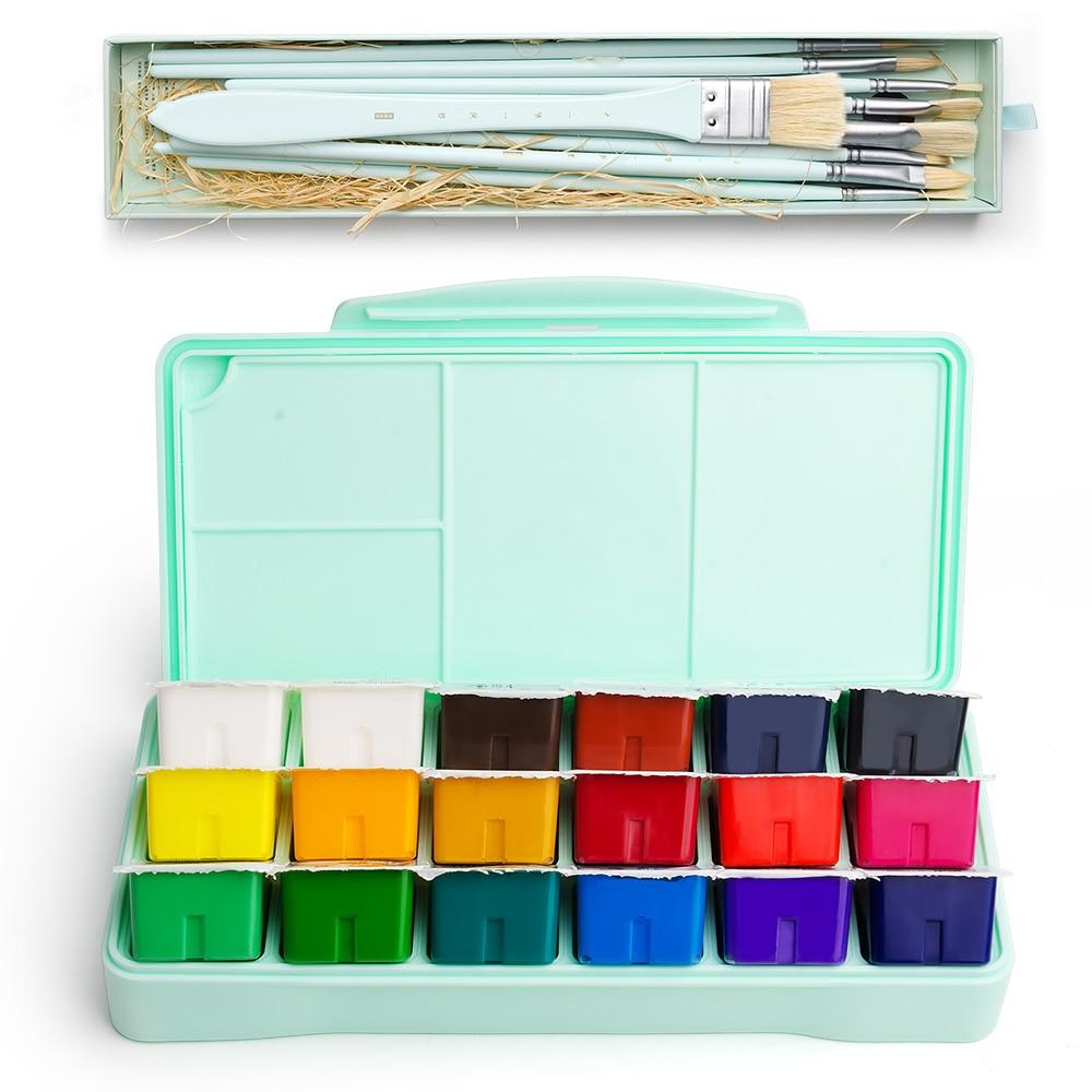 18 Colors Gouache Paint Set 30ml Portable Case with Palette Gouache Watercolor Art Painting for Artists Students Non-Toxic