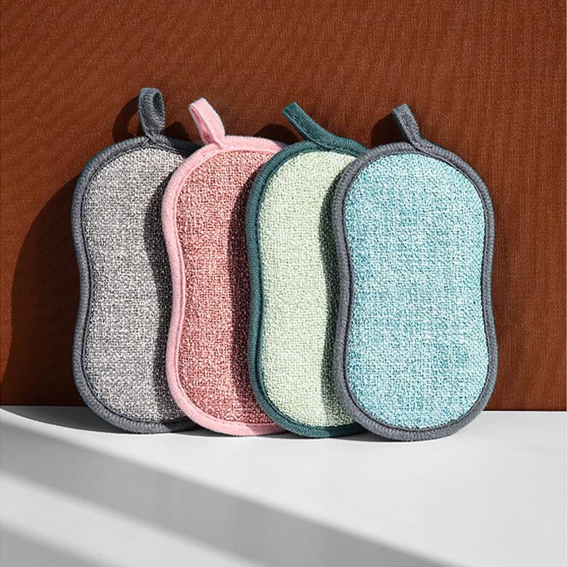 10pcs /4pcs Household Magic Sponge Kitchen Cleaning Cloth For Washing Dishes Scourer Pan Brush