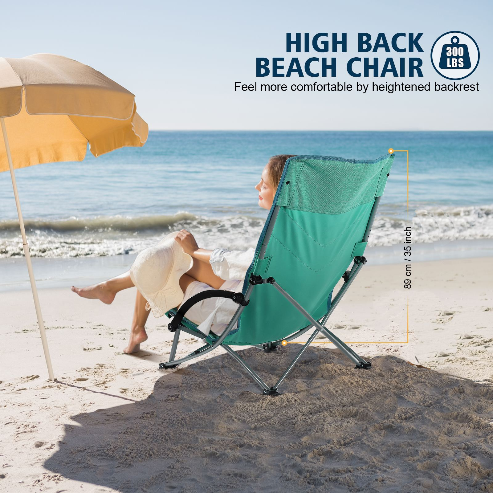 MOVTOTOP Folding Beach Chair With Cup Holder Portable Breathable Outdoor Chair Heightened Seat Beach Chair For Travel And Outing enlarge