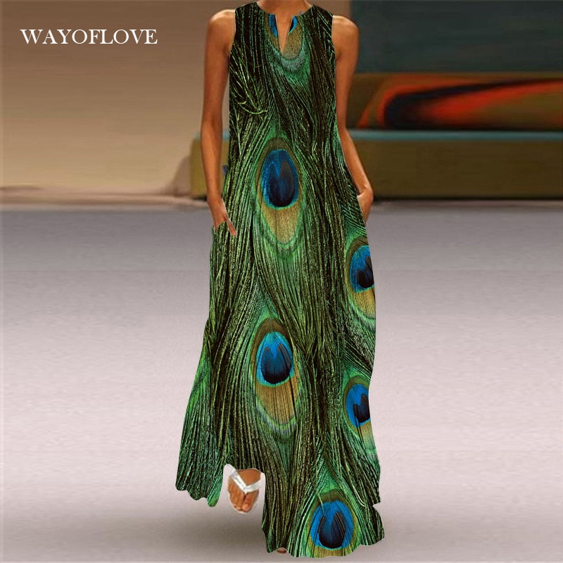 WAYOFLOVE Plus Size Peacock Feather Green Dress 2021 Casual Girl Long Dresses Summer Woman Sleeveles