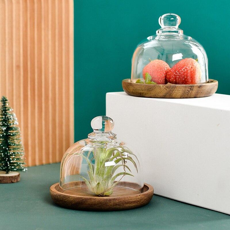طبق تقديم الحلوى الحلوى طبق علبة خشبية علبة خشبية مع غطاء غطاء زجاجي الخبز كعكة الفاكهة المعجنات لوحة مطعم مجموعة أدوات المائدة