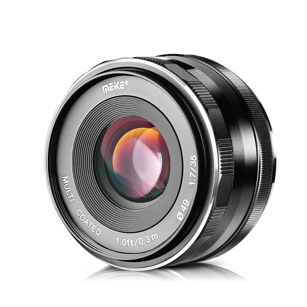 Meike 35mm f1.7 gran apertura lente de enfoque Manual para Olympus Panasonic M4/3 MFT sistema GH4 GH5 GX7 GX8 GM1 GM2