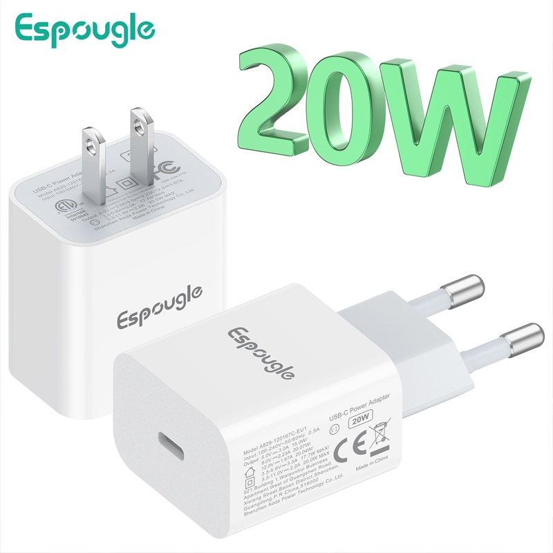 Espougle USB C Charger Quick Charge 4.0 3.0 QC 20W PD USB Type C Fast Charger for iPhone 12 Pro Max 11 Mini 8 Plus Xiaomi Phone