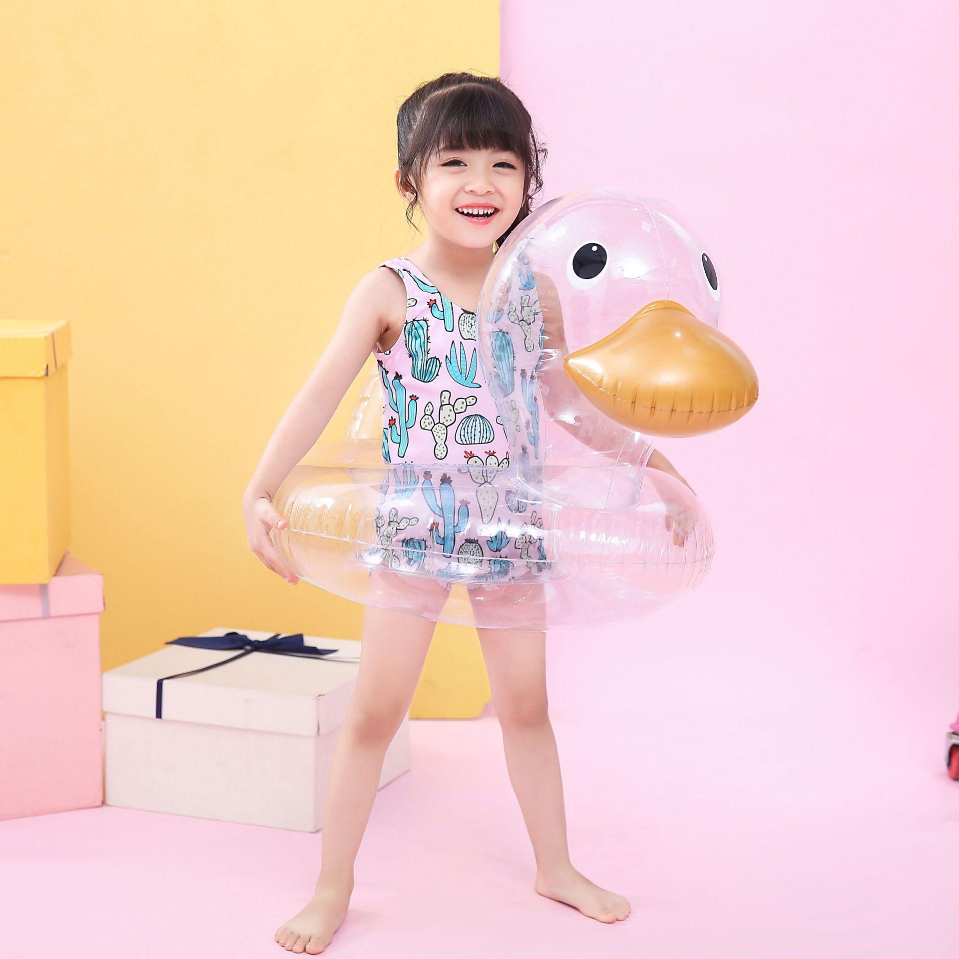 Rooxin inflável piscina float anel de borracha para crianças crianças transparente pato assento do bebê natação anel círculo festa brinquedos