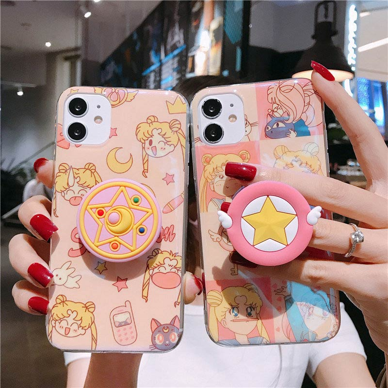 Чехол для iPhone 11 Pro X XR XS MAX 6 6S 7 8 Plus с японским аниме Сейлор Мун Луна Кошка держатель Звезда розовый