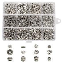 600pcs/box Tibetan Style Beads Mixed Shapes  Metal Beads  For Jewelry Making DIY Bracelets 13x10x2.2cm