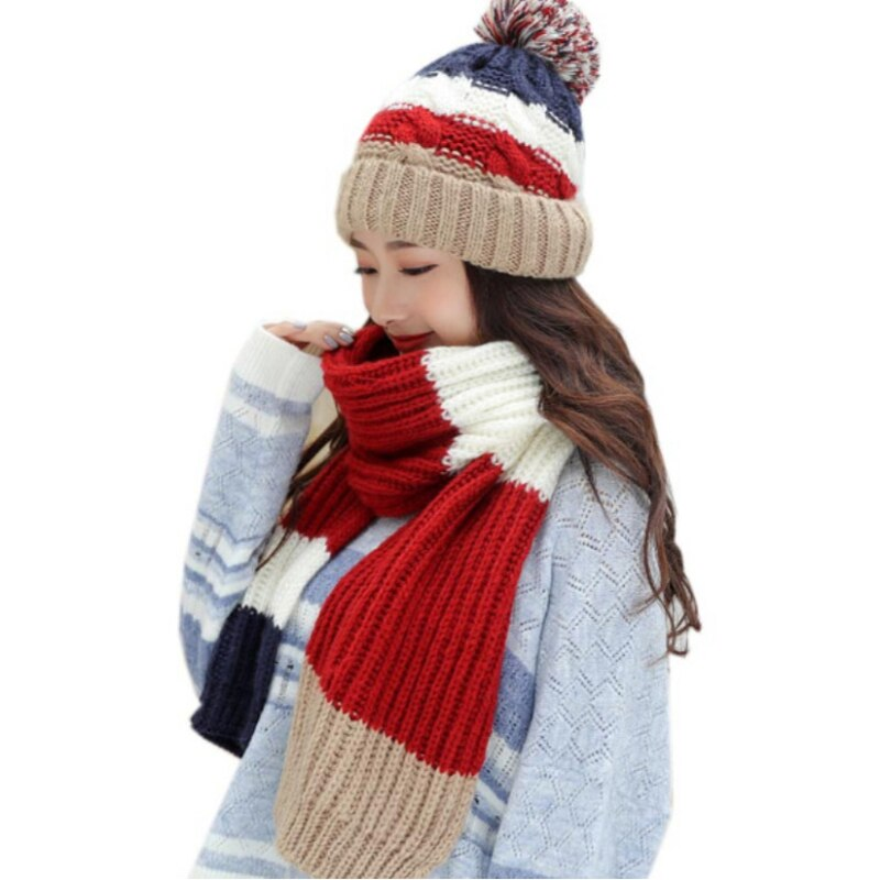Thick Warm Winter Hat Scarf Set Women Knitted Beanie and Ladies Windproof Accessories