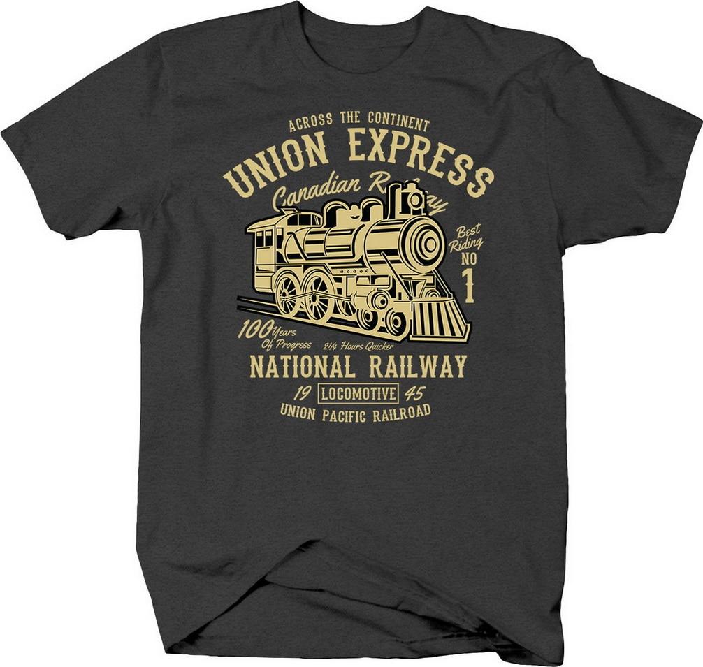Canadien et Union pacifique chemin de fer avec Train moteur à vapeur T-Shirt 11 couleurs 8 tailles T-Shirt