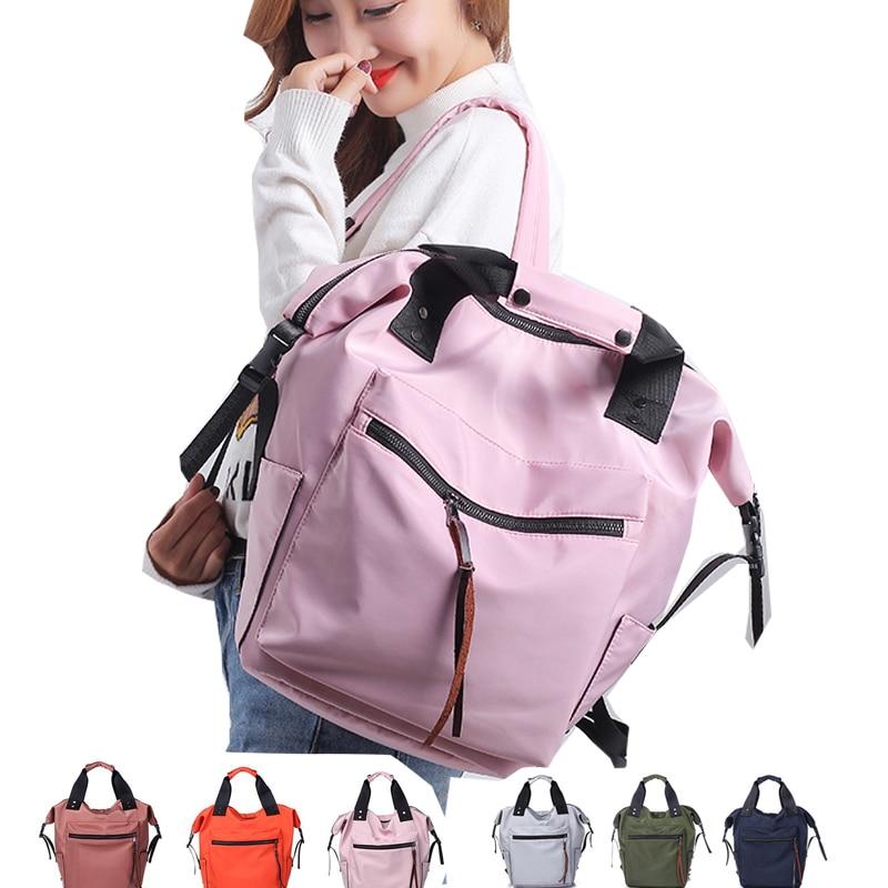 Новинка 2021, Женский нейлоновый тканевый водонепроницаемый Повседневный однотонный Школьный рюкзак, Женская вместительная сумка для ноутб...
