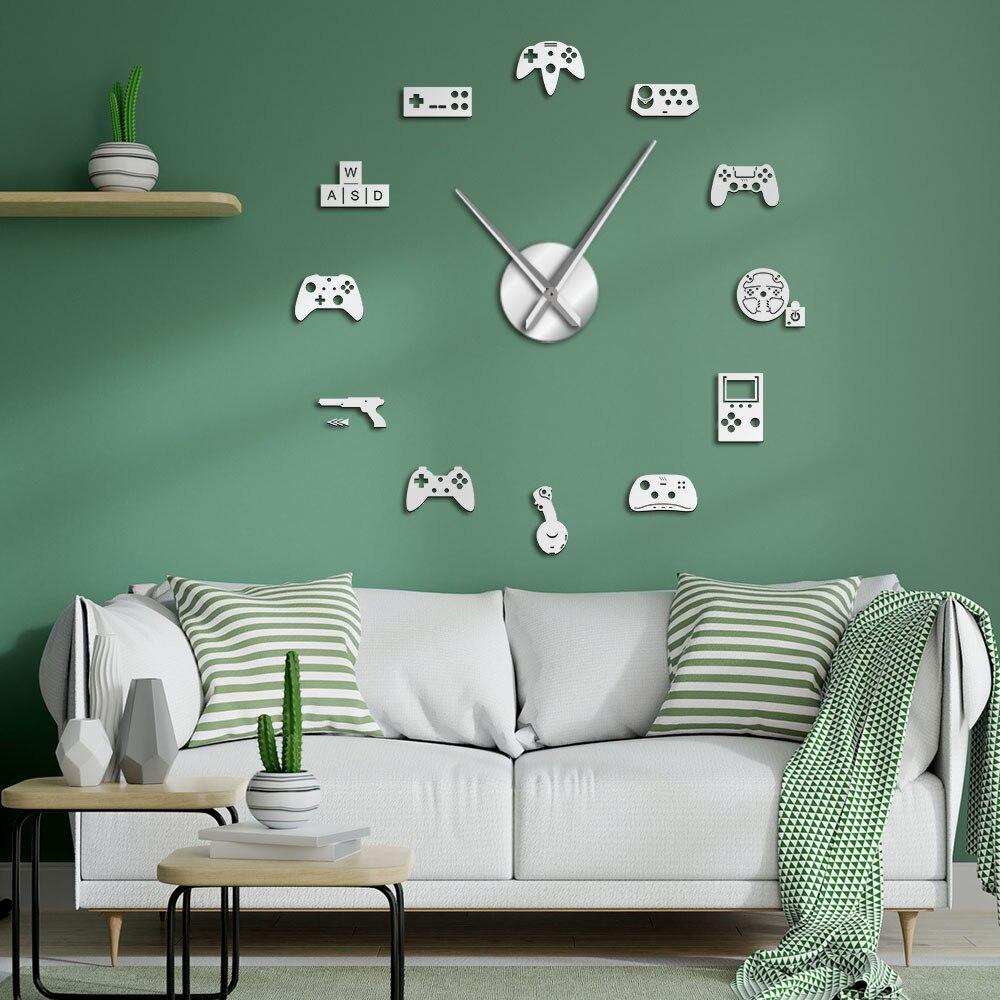 Controlador de juegos de Video DIY, reloj de pared silencioso gigante sin marco con Joysticks para juegos, pegatinas para jugadores, carteles de Video artísticos para pared, regalo
