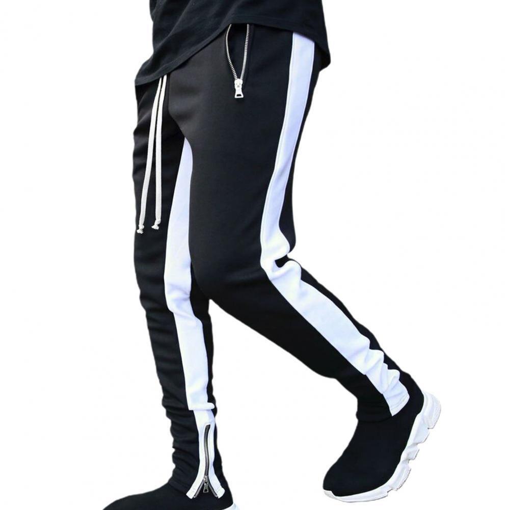 Осенне-зимние мужские повседневные брюки на молнии с карманами, модные мужские спортивные облегающие брюки для бега, спортивные брюки, брюк...