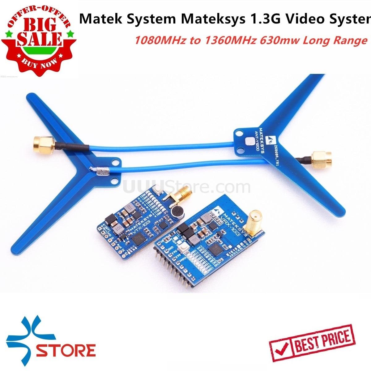 40KM de largo alcance Matek sistema Mateksys VRX-1G3 VTX-1G3 1,3 GHz FPV 2CH-9CH 630 transmisor de vídeo MW con banda de receptor de vídeo
