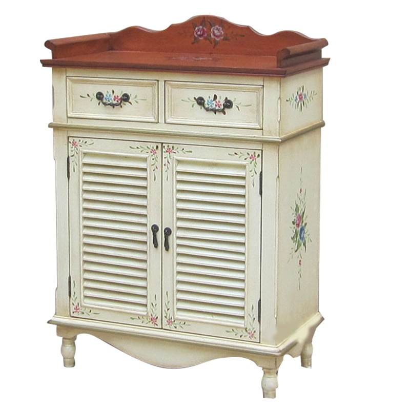 الحديث بسيط خشب متين خزانة خذاء باب رسمت المنزلية شرفة خزانة النمط الأوروبي غرفة المعيشة التقسيم خزانة