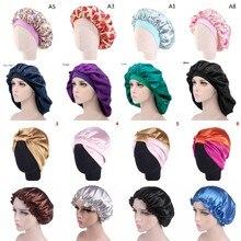 Women Night Sleep Hat Adjust Satin Bonnet Hair Styling Cap Long Hair Care 29 Styles Silk Head Wrap S
