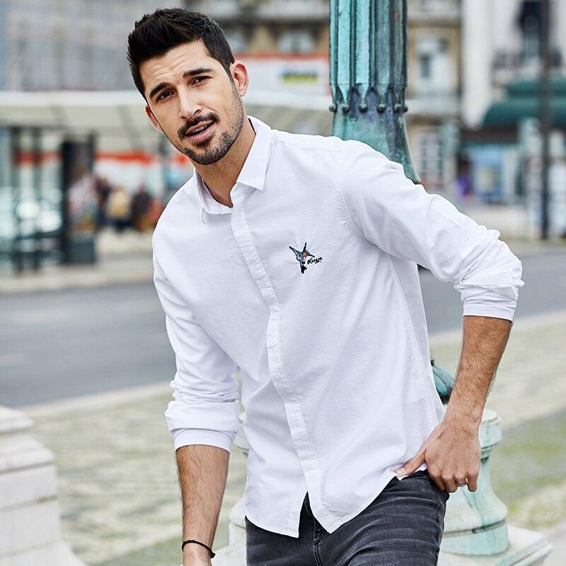 KUEGOU 100% القطن المطرزة قمصان الرجال قميص طويل الأكمام الترفيه ملابس للرجال هان طبعة الأبيض معطف الخريف YC-6315