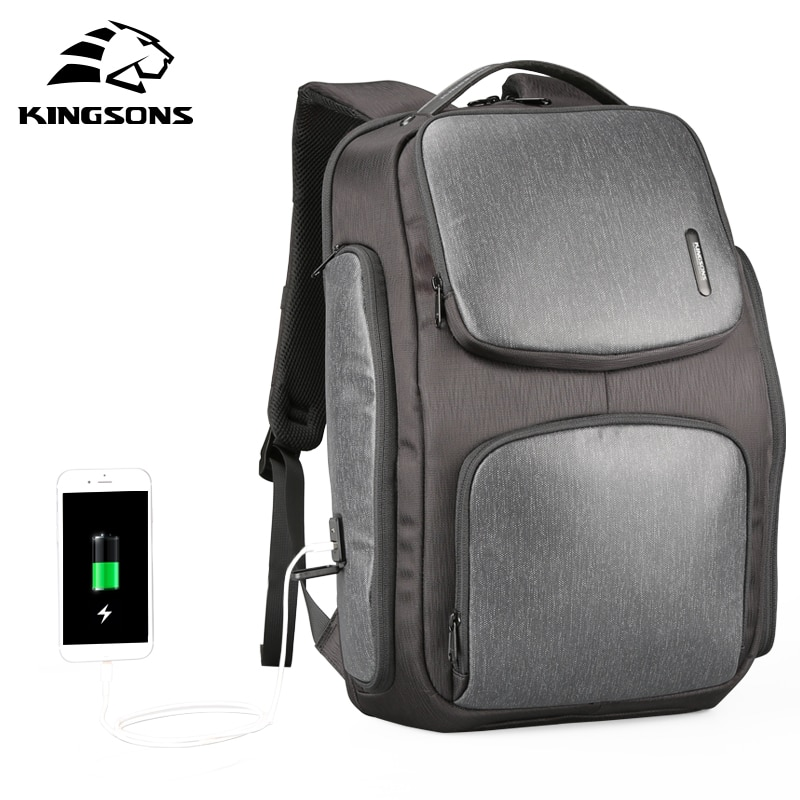 Mochila Solar Kingsons, Mochila de carga rápida por USB, mochilas para portátil de 15,6 pulgadas, Mochila de viaje para hombre, Mochila fresca para hombre