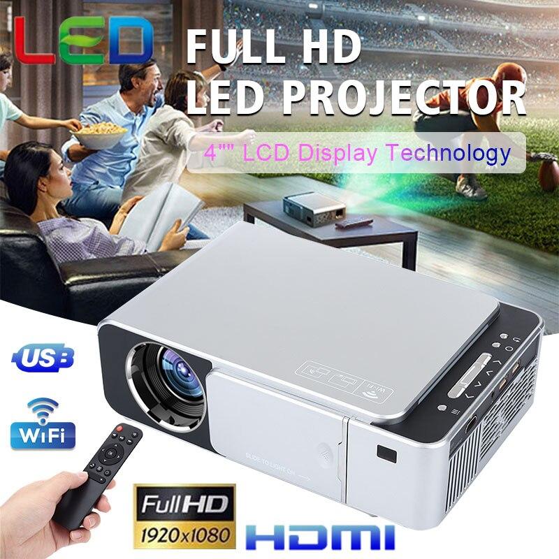 Novo t6 completo hd lled projetor 4 k 3500 lumens hdmi usb 1080p portátil cinema proyector beamer casa inteligente wi fi projetor