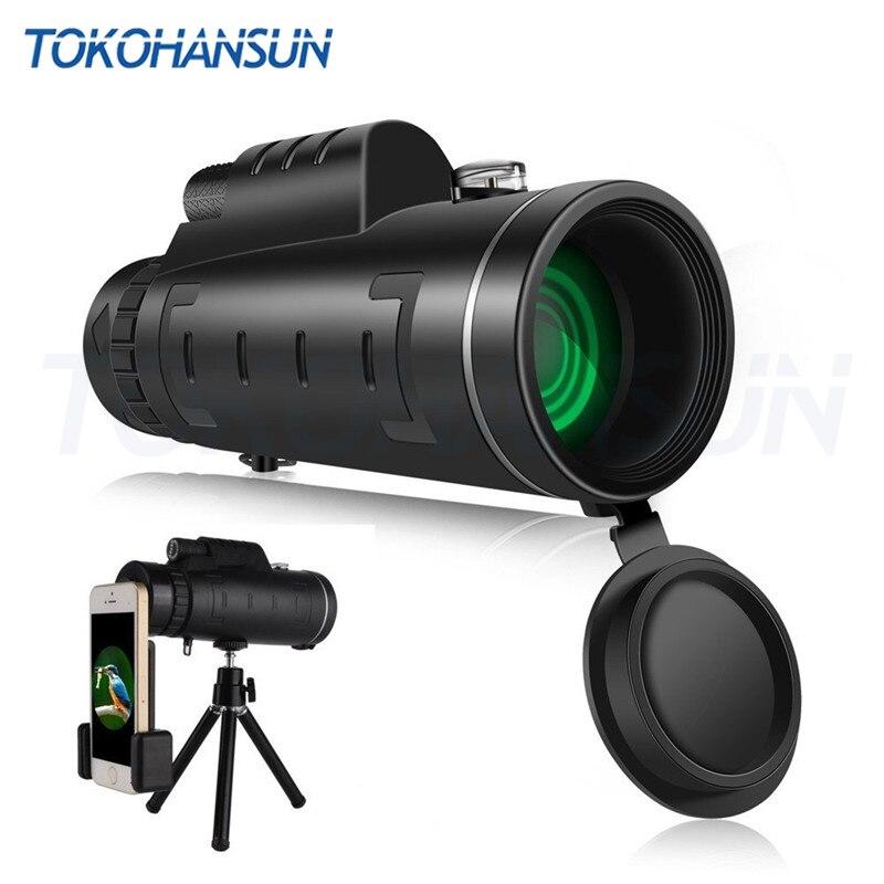 TOKOHANSUN 40x60 Zoom lente de teléfono móvil Monocular alcance impermeable telescopio Monocular con Clip y trípode para IPhone
