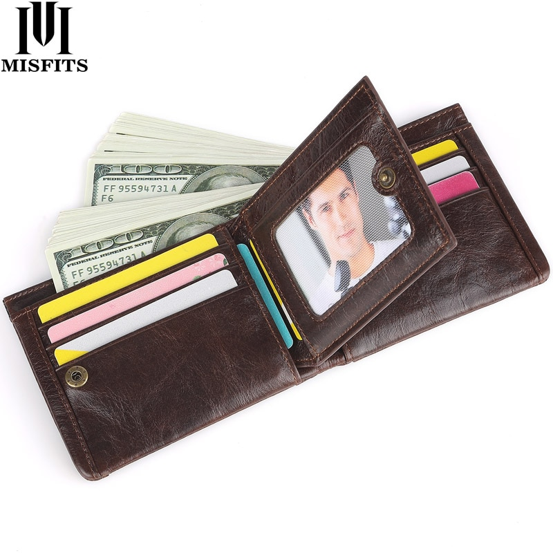 MISTITS 100% Cow Leather Short Wallet Men Bifold Card Holder Wallets Vintage Coin Purse for Male Car