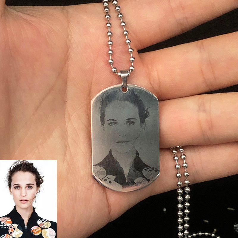 Collar con foto personalizada con nombre de acero inoxidable, cadena con colgante del ejército para identificación de perro, joyería para mujer, Collar personalizado