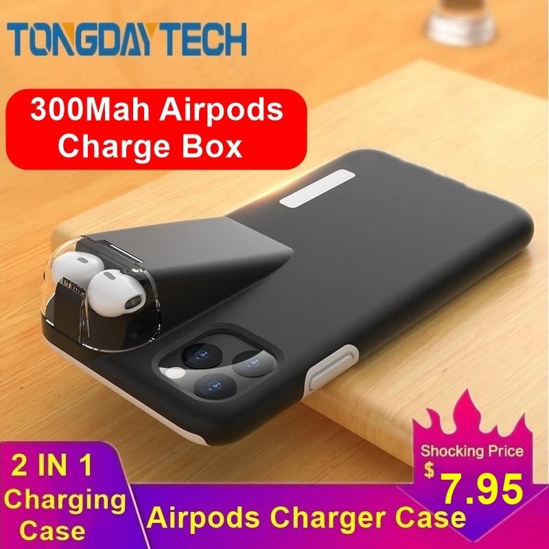 Tongdaytech caso de luxo para iphone xs se2 11 pro max xr x 8 7 6 s plus funda capa para airpods 2 1 com 300 mah caixa de carregamento
