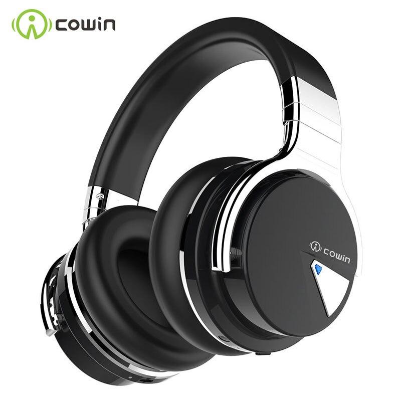 COWIN-سماعة رأس لاسلكية E7 مزودة بتقنية البلوتوث وميكروفون ، وجهاز إلغاء الضوضاء النشط ، ووقت تشغيل يصل إلى 30 ساعة