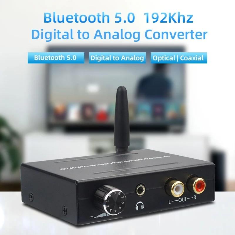 Bluetooth 5,0, 192khz digital para conversor analógico receptor bluetooth com controle de...