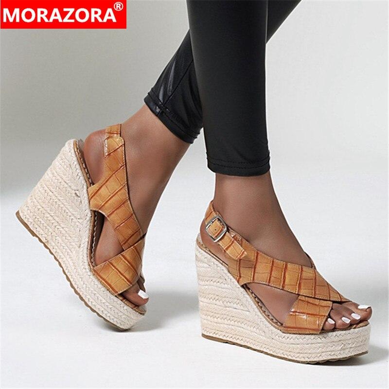 MORAZORA, sandalias de mujer de talla grande 34-43, cuñas sexys, calzado de mujer con hebillas, color sólido, zapatos de vestir para verano, negro, marrón