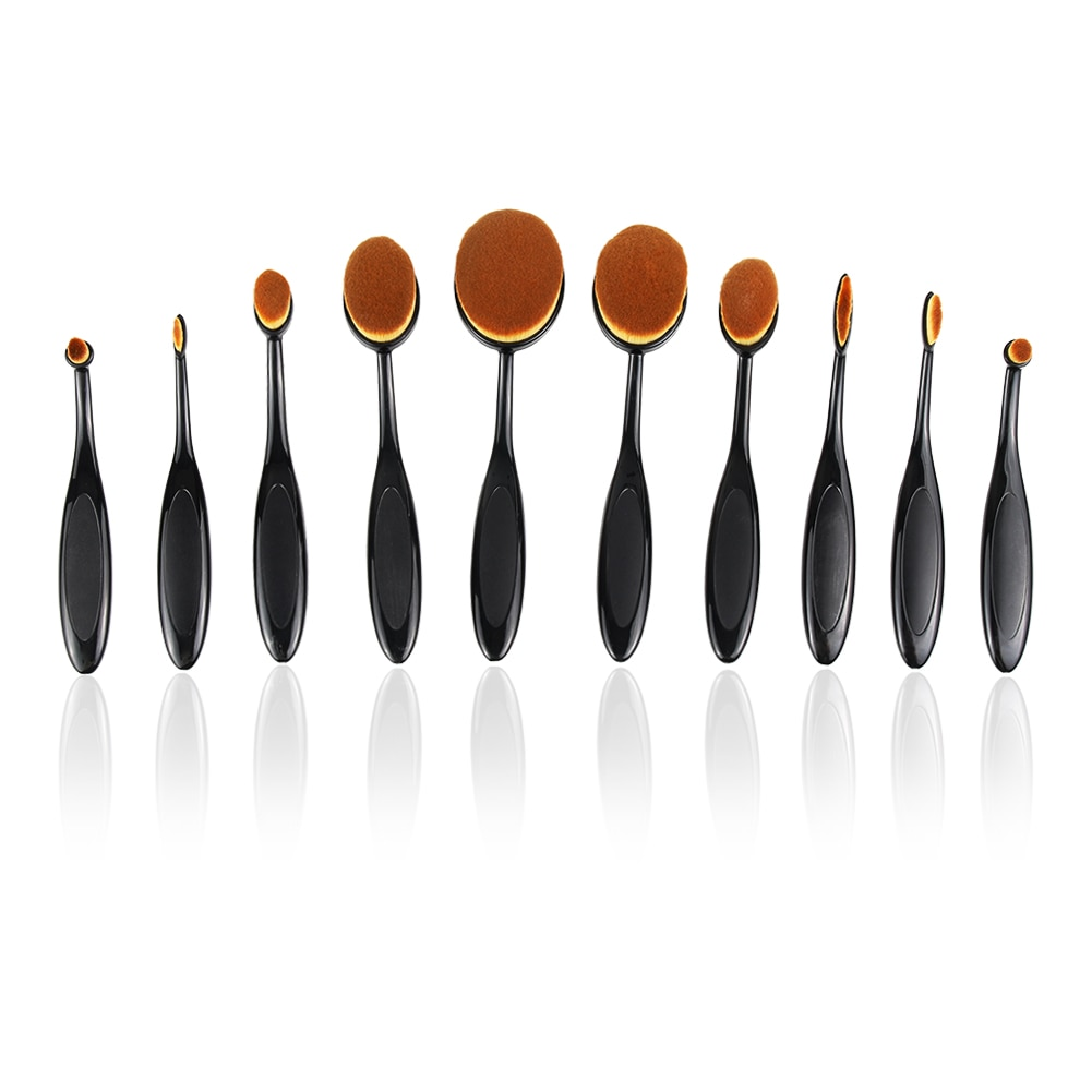 10PCS Makeup Brush Set Soft Oval Toothbrush Shaped Foundation Contour Brush Powder  Conceler Eyeliner Blending Brush Cosmetic