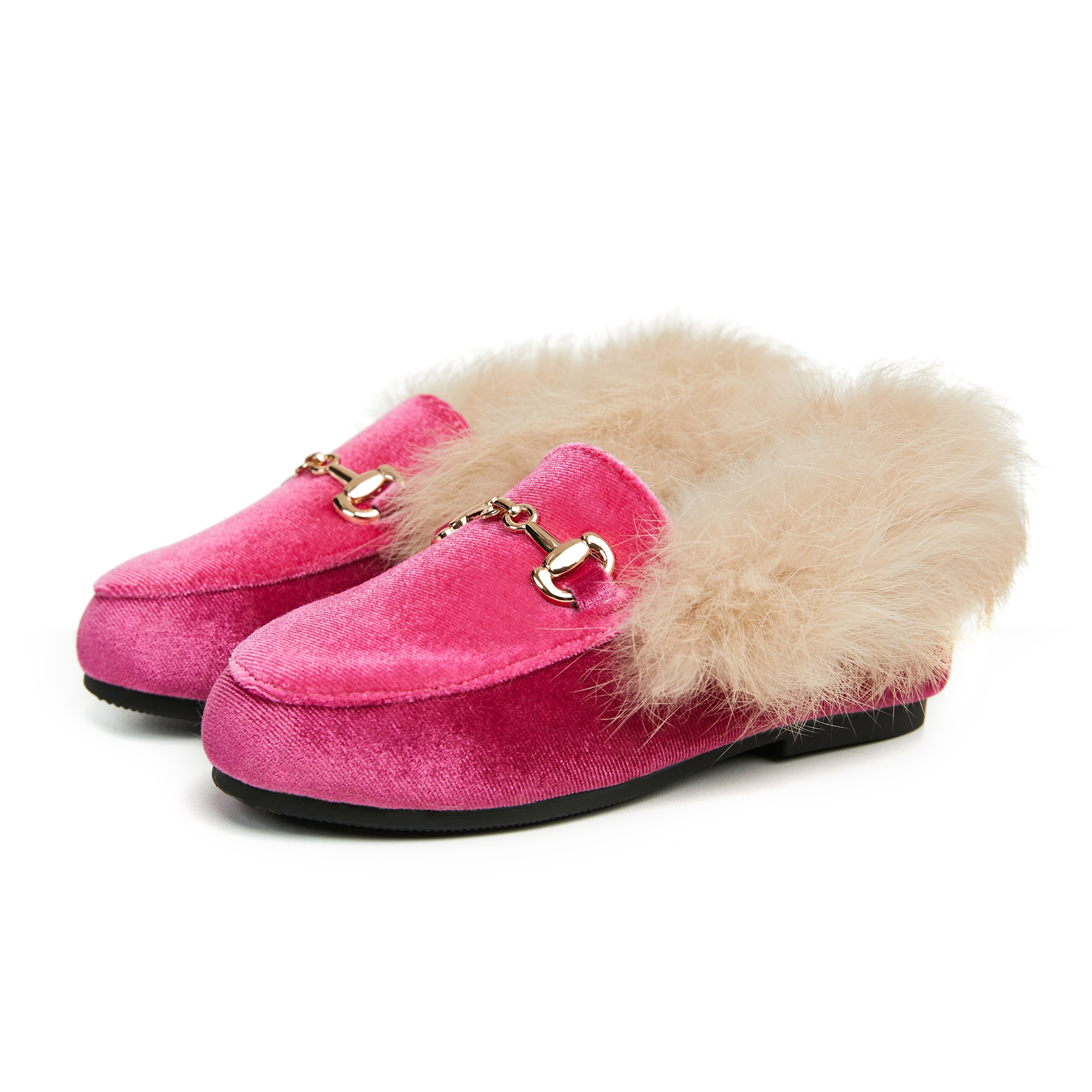 New Winter Kids Fur Shoes Children Leather Shoes Baby Girls Warm Flats Toddler Black Brand Shoes Pri
