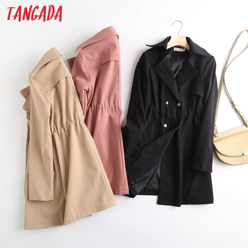 Tangada Women Solid Elegant Trench Coat Buttons 2021 Spring Elegant Female Outwear Windbreak 7L7