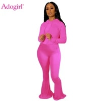 adogirl 2020 autumn women tracksuit long sleeve hoodies big bell bottom flare pants solid two piece set fashion casual suits
