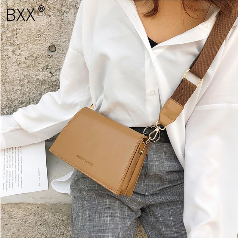 [BXX] Women's Single Shoulder Crossbody Bag All-match Flap 2021 Vintage PU Leather Female Party Handbag Wide Straps Bag HF317