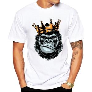 Gorilla King  Printed Men T-Shirt Short Sleeve Summer Tshirts Punk Rock Mens Tshirt Top Funny Ape Tees oversized shirt plus size
