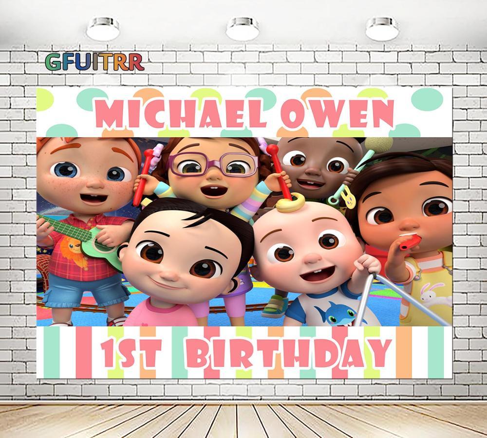 GFUITRR Cocomelon muñeca juguete fotografía fondos Baby Shower cumpleaños fiesta Fondo Grupo Familia foto vinilo foto cabina Prop
