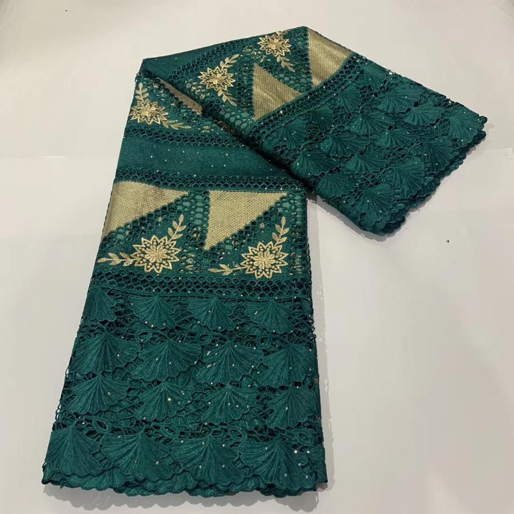 (5yards/pc) tissu de dentelle de cordon africain vert émeraude de haute qualité avec beau motif et broderie pour robe de soirée FLA003