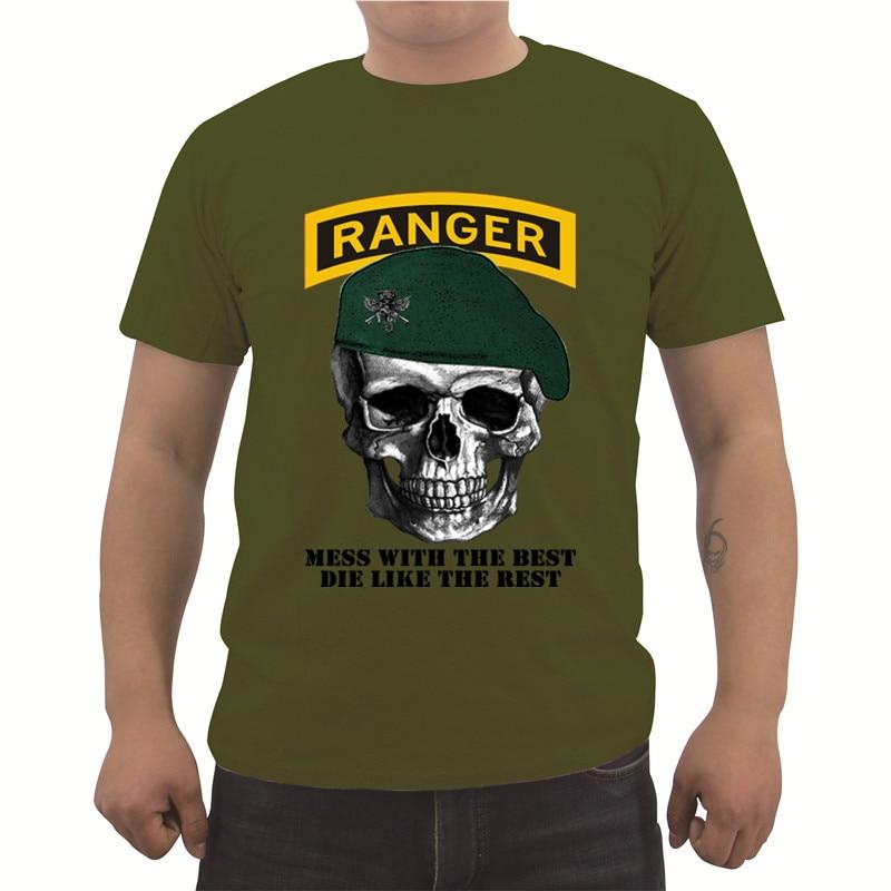 Nueva camiseta estampada ejército de ee.uu. Ranger verde boina Fitness camiseta de moda de los hombres negro Formal camiseta masculina Pop Top Tees Top
