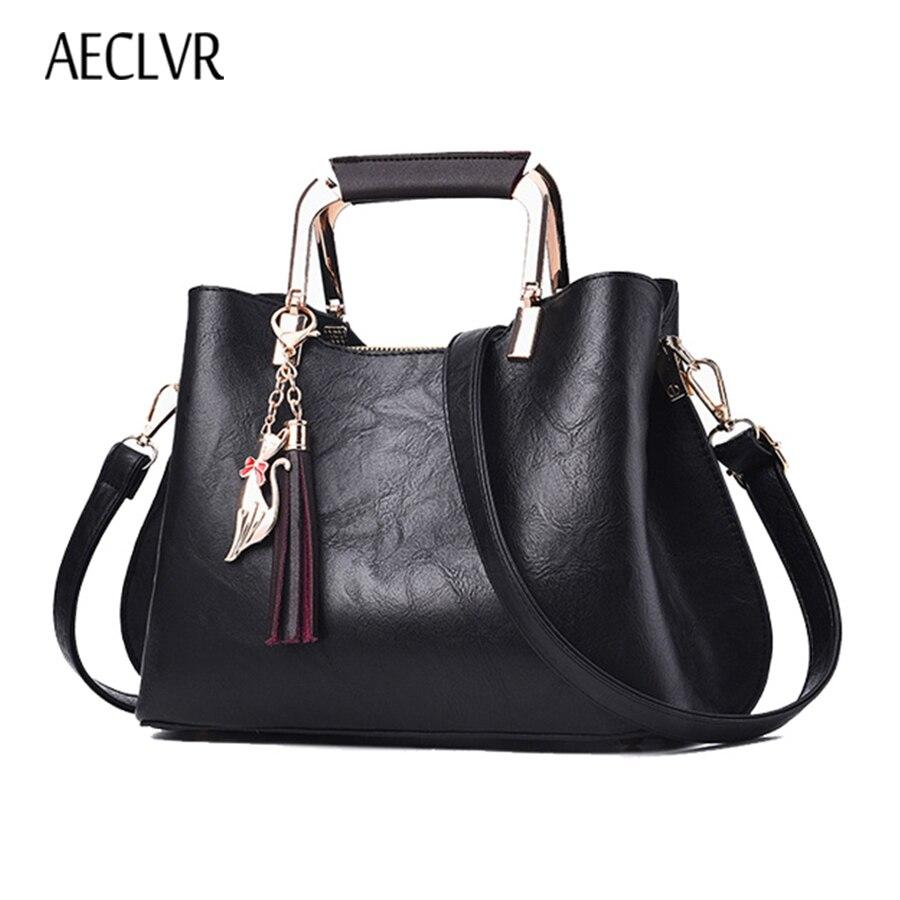AECLVR, bolsos de cuero de alta calidad para mujer, bolsos de hombro Vintage con borlas y lentejuelas, bolso de mano informal sólido, Bolsa de mensajero, Bolsa