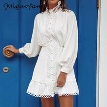 Miguofan white dresses hollow out lace up women dresses botton stand neck dresses long sleeve mini female vestidos 2020 new robe